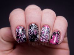 Chalkboard Nails: A pink Splatterday Saturday featuring OPI