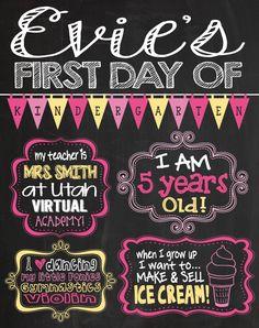 First Day of Kindergarten Chalkboard Sign. Printable chalkboard sign for 1st day of school
