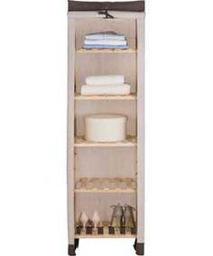 Polycotton and Wood 5 Shelf Storage Unit - Cream
