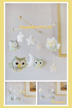 Baby Crib Mobile  Owl Mobile  Sage Green Gray Owls in by hingmade