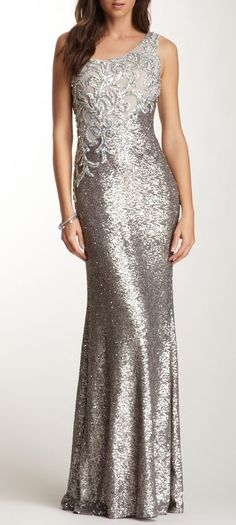 I would love to wear this if i was her side..La Femme One Shoulder Rhinestone Applique Gown