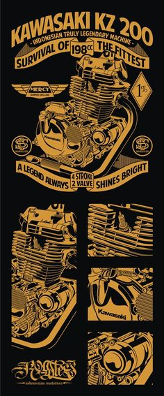 Kawasaki Engine A Legend is Always SIhines Bright - Motorcycle Custom Motorcycles, Cars And Motorcycles, Kawasaki Cafe Racer, Motorcycle Stickers, Cafe Racing, Car Repair Service, Motorcycle Engine, Kustom Kulture, Vintage Signs