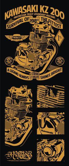 Kawasaki KZ200 Engine A Legend is Always SIhines Bright #kz200 #kawasaki #enginevector #bintermerzy #customculture #fromsolotohero #motographic