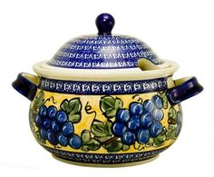 EuroQuest Imports Bunzlauer Polish Pottery 3-Quart Terrine with Lid in Grape Vine Pattern by Bunzlauer Stoneware, http://www.amazon.com/dp/B000GUY8R0/ref=cm_sw_r_pi_dp_.o-2qb04MFGYF