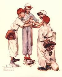 """Four Sporting Boys: Baseball,"" Norman Rockwell, 13 x Collection of Williams High School Alumni Association on permanent loan to Norman Rockwell Museum. - Norman Rockwell Museum - The Home for American Illustration Norman Rockwell Prints, Norman Rockwell Paintings, Peintures Norman Rockwell, Jorge Guzman, The Saturdays, Baseball Art, Baseball Stuff, Baseball Quotes, Baseball Players"