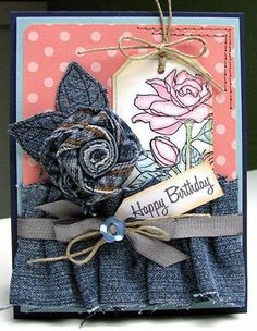 denim rose on card