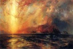 """Томас Моран  'Отчаянно Красное Солнышко по убыванию, Горело свой путь по небу """" 1875"""
