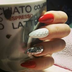 #acrylic #long #almond #nails #white #silver #red #knitted_nails #winter