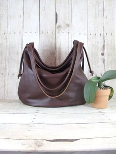 Large Leather Hobo Bag Slouchy Brown Leather Purse