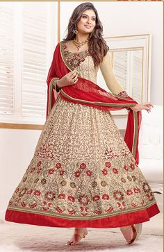 Sayali Bhagat Georgette Beige Semi Stitched Anarkali Suit by fabfiza-Clothing-FABFIZA