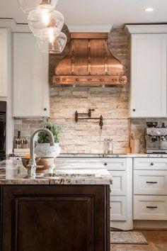 unique kitchen interior design white cabinets copper hood stone backsplash wood flooring - maybe for bathroom Kitchen Redo, Rustic Kitchen, New Kitchen, Kitchen Modern, Kitchen Ideas, Modern Farmhouse, Kitchen Tile, Farmhouse Style, Kitchen Cabinets