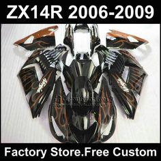 290.72$  Buy here - http://alib0z.shopchina.info/1/go.php?t=32358812015 - Motorcycle Injection fairing kit for Kawasaki 2006 2007 2008 2009 ZX14R Ninja ZX 14R 06-09 orange flame custom ABS fairings kits  #aliexpress