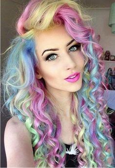 Whoa!!!  Wild!!!  Rainbow pastel, macaron hair