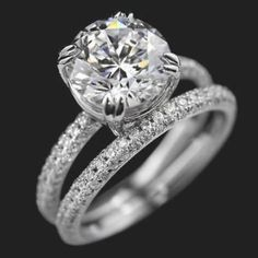 Certified Round Cut Diamond Engagement Wedding Ring Set in White Gold Cushion Cut Engagement Ring, Engagement Wedding Ring Sets, Engagement Ring Settings, Diamond Wedding Bands, Diamond Engagement Rings, Wedding Set, Dream Wedding, Wedding Ideas, Wedding Card