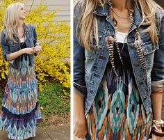 totally want to rock a denim jacket with maxi dresses this year...