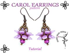 CAROL Earrings pattern tutorial with PIP beads by PearlyBeadDesign