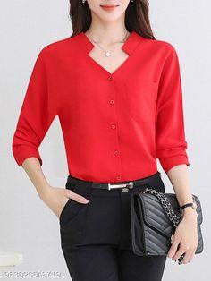 V-Neck Plain Patch Pocket Blouses - blusas - Cheap Blouses, Red Blouses, Shirt Blouses, Blouses For Women, Blouse Styles, Blouse Designs, Kurta Neck Design, Blouse Models, Blouse Online
