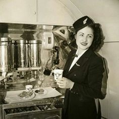 Delta stewardess in galley. Vintage Air, Vintage Travel, First Plane, Old Planes, Alaska Airlines, Yesterday And Today, Air Travel, Flight Attendant, The Past
