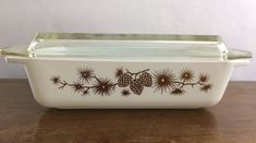 Pyrex Golden Pinecone Space Saver With Lid Promotional Milkglass Vintage Bakeware Kitchen Retro by LakesideVintageShop on Etsy