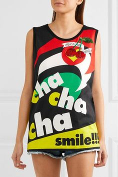 Dolce & Gabbana - Embellished Appliquéd Printed Cotton-jersey Top - Black - IT44