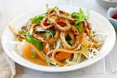 Fennel & lemon calamari with rockmelon salad