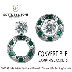 Take your #diamond stud earrings from ordinary to extraordinary with these 14K White Gold and #Emerald and Diamond Convertible Earring Jackets from #GottliebandSons. Visit your local retailer and ask for style number 29359B.