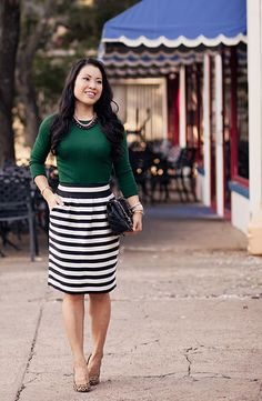 Green long sleeve top, stripe print skirt and leopard print pumps