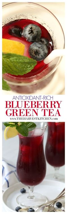 This iced Antioxidant Rich Blueberry Green Tea is light and refreshing and loaded with antioxidants that'll give your immune system a nice boost. The green tea is infused with blueberries and lightly sweetened with honey.