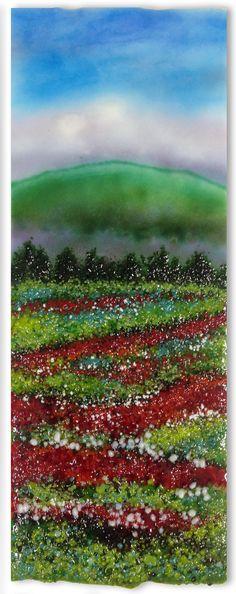 South Slope Poppy Fields by Anne Nye (Art Glass Wall Sculpture) Art Deco Glass, Sea Glass Art, Glass Wall Art, Stained Glass Art, Sculpture Painting, Wall Sculptures, Broken Glass Art, Crushed Glass, Modern Sculpture