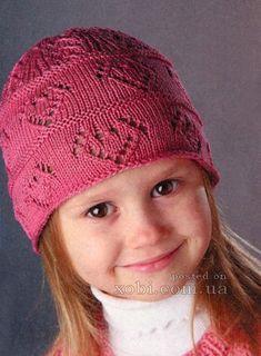 розовая шапочка для девочки вязаная спицами