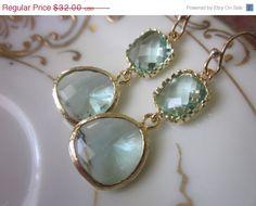 SALE 10% OFF Prasiolite Earrings Green Earrings Gold - Bridesmaid Earrings Wedding Earrings Christmas Gift. $28.80, via Etsy.