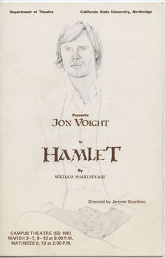 This theater program from 1976 features a sketch of Jon Voight by noted portrait artist Don Bachardy on the cover. Mr. Voight played Hamlet in the California State University, Northridge (CSUN) production. The introduction of those from professional theater into departmental productions was an innovative attempt to provide the students of CSUN's Theater Department with instruction beyond that which can be provided in a classroom. CSUN University Digital Archives.