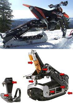 I freaking want this....RadiX Kit Turns Your Dirtbike Into A Snowmobike