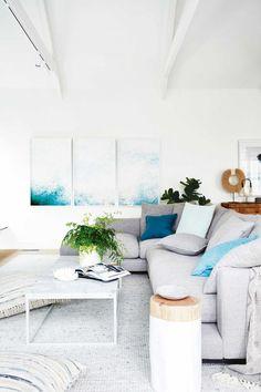 Take a Tour of Dea & Darren's Melbourne Home coastal-living-room-with-grey-sofa-and-blue-cushions-darren-and-deas-home Coastal Living Rooms, Coastal Homes, Living Room Decor, Living Spaces, Coastal Cottage, Coastal Interior, Coastal Farmhouse, Cottage Living, Living Room Artwork