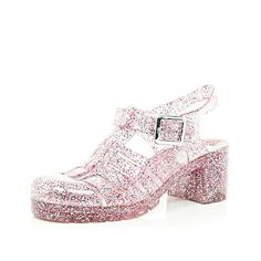 Pink glitter block heel jelly shoes #riverisland