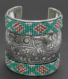 Cowgirl Bracelet metal cuff with flower pattern and seed beads perfect aztec design on bracelet $19.99