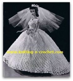Free vintage crochet wedding dress pattern, in four sizes for fashion doll.
