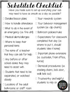 Read Like A Rock Star! : Planning for a Substitute: Helpful Tips and a Checklist! Literacy Read Like A Rock Star! : Planning for a Substitute: Helpful Tips and a Checklist! Teacher Organization, Teacher Tools, Teacher Hacks, Teacher Resources, Teachers Toolbox, Organized Teacher, Teacher Stuff, Resource Room Teacher, First Year Teachers