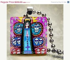 Day of the Dead Jewelry - Mexican Folk Art Jewelry Virgin of Guadalupe Necklace pendant Necklace Charm Sugar Skulls Ske.