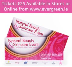 Tickets are selling fast for our Natural Beauty & Skincare Event next week!! Buy yours now in stores or online from:   http://www.evergreen.ie/natural-beauty--skincare-event--tickets/p5400pd.aspx