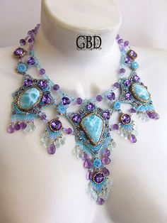 Sea Princess by Guzel Bakeeva, such gorgeous Larimar & Amethyst stones...time to get off my butt & do some bead embroidery & weaving~*