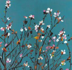 Almond tree / original acrylic painting on mdf vintage painting - wall art- wall decor- home decor - white flowers- blue - Handmade drawing