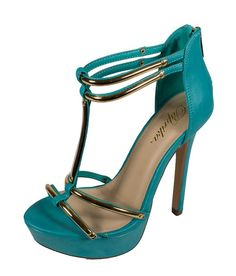 CRISTO! Women's Metallic T-Bar Platform Stiletto Sandal in Teal Leatherette >>> Check this awesome product by going to the link at the image.