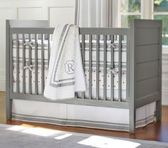 "Emery Crib (in white) #pbkids 51.25"" wide x 30.25"" deep x 40.25"" high $499"