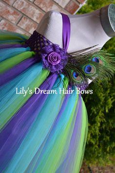 5%OFF Peacock Tutu Dress purple green and turquoise tutu dress peacock theme wedding birthday peacok custome halloween
