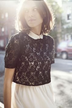 how to wear one cute lace crop top alla alexa chung found via miss moss
