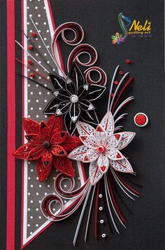 Neli Quilling Art: Fantasy in white, red and black