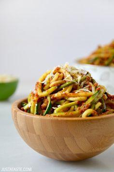 Zucchini Noodles with Sun-Dried Tomato Pesto recipe on justataste.com