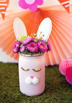 Bunny Party Centerpiece - bunny mason jar