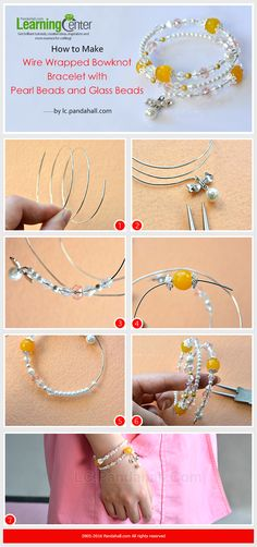 How to Make Wire Wrapped Bowknot Bracelet with Pearl Beads and Glass Beads from LC.Pandahall.com